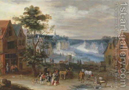A village scene with a canal in the distance, said to be the Willebroek canal by (after) Jan The Elder Brueghel - Reproduction Oil Painting