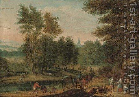 A wooded river landscape with travellers on a track, a church beyond by (after) Jan, The Younger Brueghel - Reproduction Oil Painting