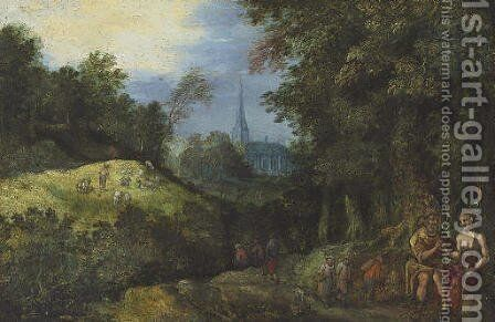 Figures in a wooded landscape by (after) Jan The Elder Brueghel - Reproduction Oil Painting