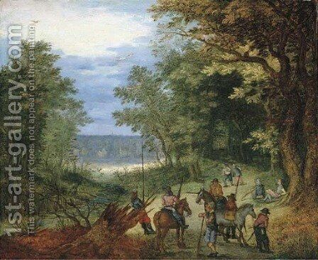 A wooded landscape with soldiers resting on a path by a stream by (after) Jan The Elder Brueghel - Reproduction Oil Painting