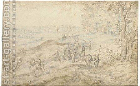 Travellers on a path, an extensive landscape beyond by (after) Jan The Elder Brueghel - Reproduction Oil Painting