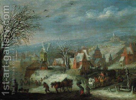 A winter landscape with travellers by a fortified town by (after) Jan, The Younger Brueghel - Reproduction Oil Painting