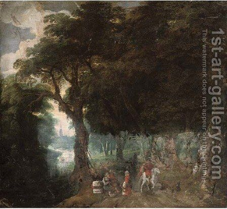 A wooded landscape with figures on a track, a church beyond by (after) Jan, The Younger Brueghel - Reproduction Oil Painting