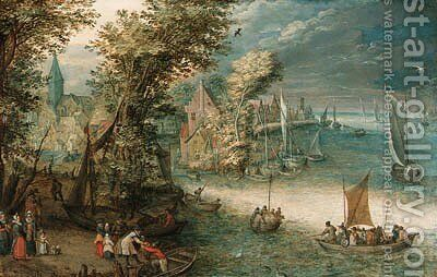 A wooded river landscape with travellers at a landing stage near a town, kaags, rowing boats and a ferry on the river by (after) Jan, The Younger Brueghel - Reproduction Oil Painting