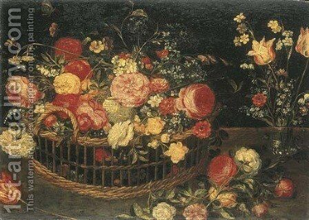 Roses, carnations and other flowers in a basket by (after) Jan, The Younger Brueghel - Reproduction Oil Painting
