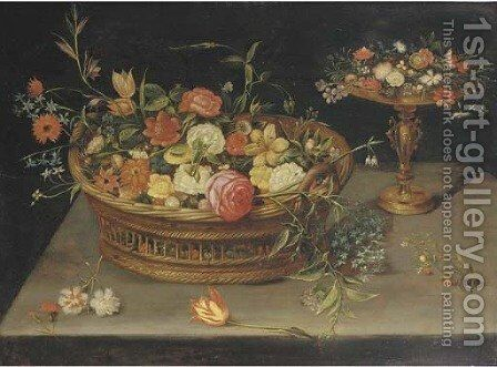 Roses, peonies, tulips, narcissi, carnations, poppies and other flowers in a basket and a gilt tazza, on a table by (after) Jan, The Younger Brueghel - Reproduction Oil Painting
