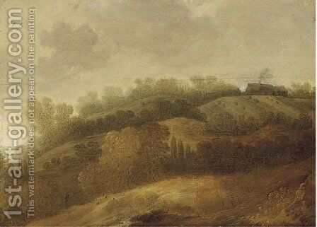 A hillside landscape with a house beyond by (after) Jan Coelenbier - Reproduction Oil Painting