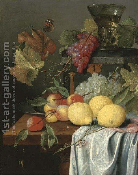 Lemons, peaches, prawns and grapes with a Magpie butterfly by (after) Jan Davidsz. De Heem - Reproduction Oil Painting