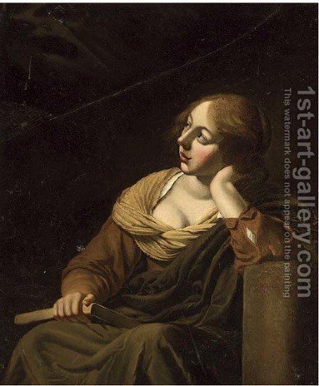 A girl looking up in adoration by (after) Jan De Bray - Reproduction Oil Painting