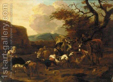 An evening landscape with herdsmen and shepherdesses, cattle and sheep resting nearby by (after) Jan Frans Soolmaker - Reproduction Oil Painting