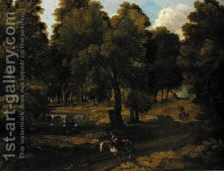 A horseman on a woodland track by (after) Jan Frans Van Orizzonte (see Bloemen) - Reproduction Oil Painting