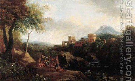 Shepherds on a cliff overlooking a river, a town on a hilltop beyond, in an Italianate landscape by (after) Jan Frans Van Orizzonte (see Bloemen) - Reproduction Oil Painting