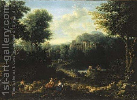 An arcadian landscape with herdsmen on a path and peasants fishing on a pond by (after) Jan Frans Van Orizzonte (see Bloemen) - Reproduction Oil Painting