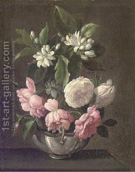 Roses and Syringa in a vase on a ledge by (after) Jan Fyt - Reproduction Oil Painting