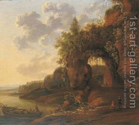 A mountainous river landscape with travellers on a path in the foreground by a moored boat by (after) Jan Gabrielsz. Sonje - Reproduction Oil Painting
