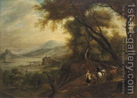 A Rhenish landscape with mounted figures on a wooded track by (after) Jan Griffier I - Reproduction Oil Painting