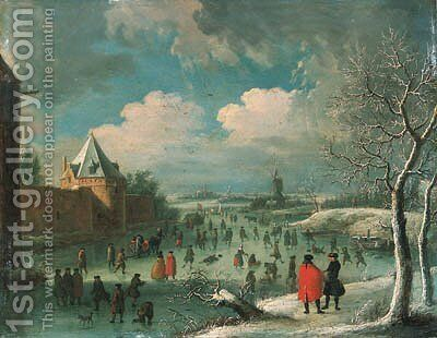 A winter landscape with townsfolk skating on a frozen moat by (after) Jan Griffier I - Reproduction Oil Painting