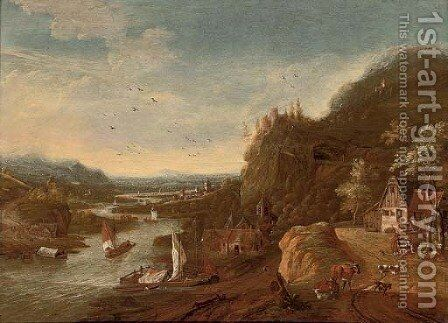 A Rhenish landscape with sailing barges, a castle on a hill beyond by (after) Jan Griffier II - Reproduction Oil Painting