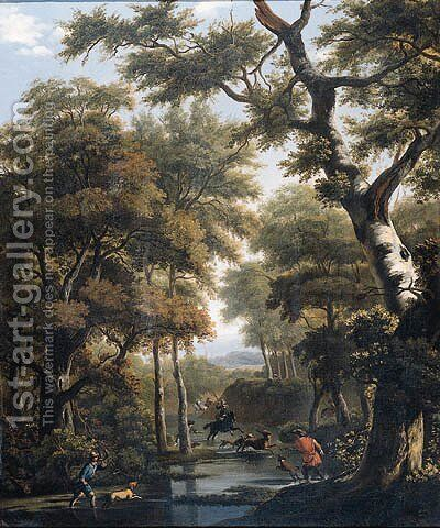 A stag hunt in a forest by (after) Jan Hackaert - Reproduction Oil Painting