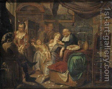 An interior with a family by (after) Jan Josef, The Elder Horemans - Reproduction Oil Painting