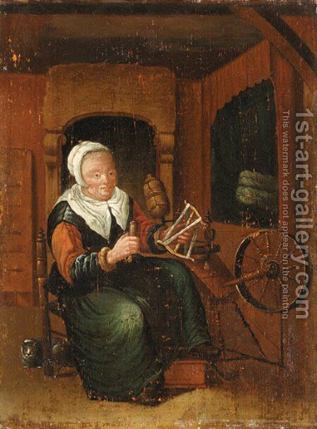 An old Lady Spinning in an Interior by (after) Jan Josef, The Elder Horemans - Reproduction Oil Painting