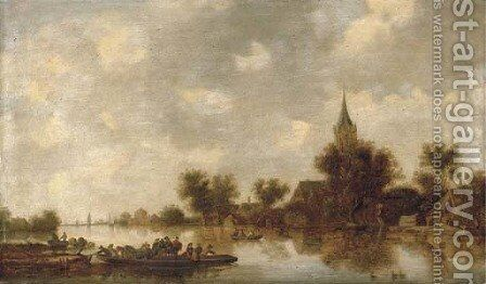 A river landscape with a ferry crossing by (after) Jan Van Goyen - Reproduction Oil Painting