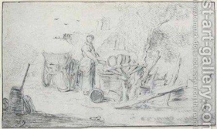 A woman by a well, a cottage seen beyond by (after) Jan Van Goyen - Reproduction Oil Painting