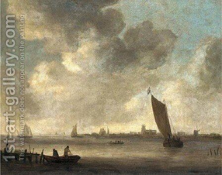 An estuary landscape with fishermen drawing in their nets by a sandbank and other shipping in a light breeze, Dordrecht beyond by (after) Jan Van Goyen - Reproduction Oil Painting
