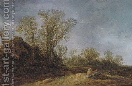 Two peasants resting in a wooded landscape, a cottage nearby by (after) Jan Van Goyen - Reproduction Oil Painting
