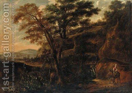 A wooded landscape with a traveller on a donkey by (after) Jan Lagoor - Reproduction Oil Painting