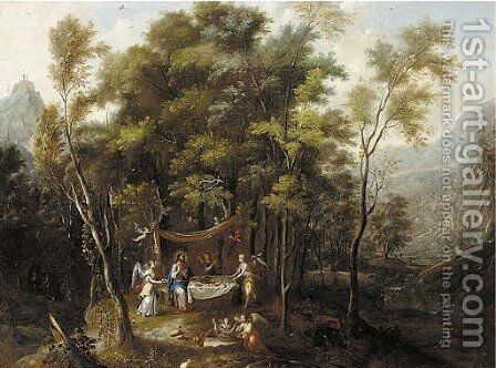 An extensive wooded landscape with the Temptation of Christ by (after) Jan Looten - Reproduction Oil Painting