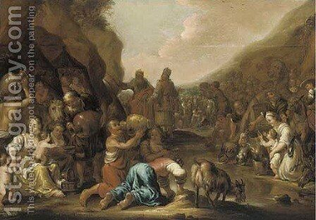 Moses striking the rock by (after) Jan Marienhof - Reproduction Oil Painting