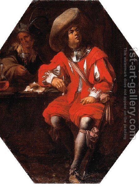 A Gentleman seated in a Tavern by (after) Jan Miel - Reproduction Oil Painting