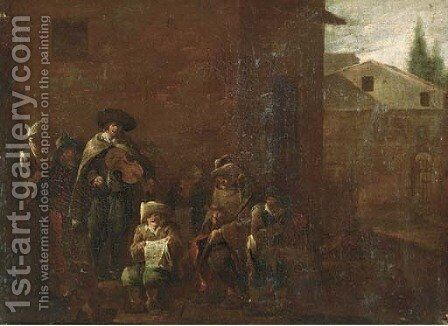 Peasants singing and making music in the street by (after) Jan Miel - Reproduction Oil Painting
