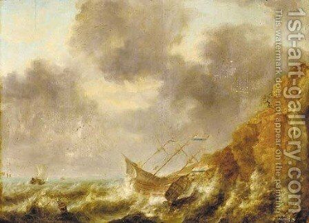 A shipwreck off a rocky coastline by (after) Jan Peeters - Reproduction Oil Painting
