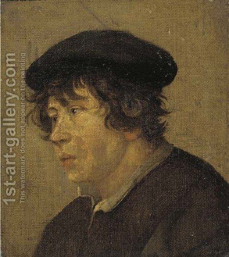 A young man, bust-length, in a brown cap by (after) Jan Steen - Reproduction Oil Painting