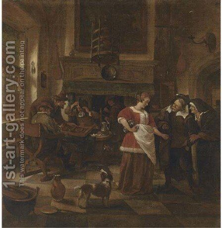 An inn interior with men playing backgammon by (after) Jan Steen - Reproduction Oil Painting
