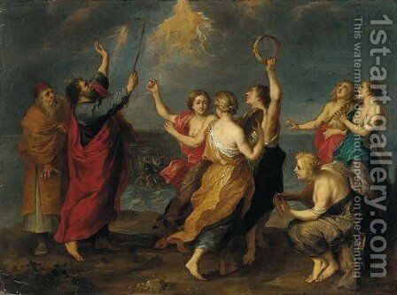 The Dance of Miriam by (after) Jan Van Den Hoecke - Reproduction Oil Painting