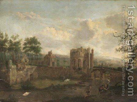 A river landscape with figures on a bank, a bridge to a walled town beyond by (after) Jan Van Der Heyden - Reproduction Oil Painting