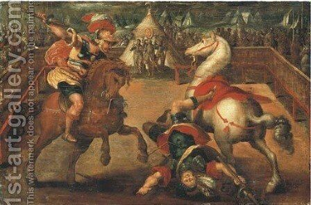 Two knights jousting, a tent with the Medici coat-of-arms beyond by (after) Jan Van Der Straet - Reproduction Oil Painting