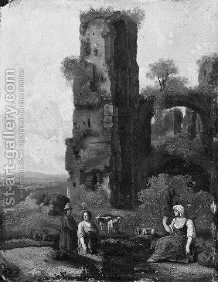 Shepherds resting by classical ruins in an Italianate landscape by (after) Jan Van Haensbergen - Reproduction Oil Painting