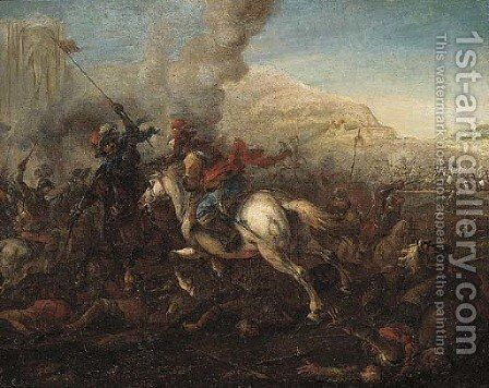 A cavalry battle by (attr.to) Huchtenburg, Jan van - Reproduction Oil Painting