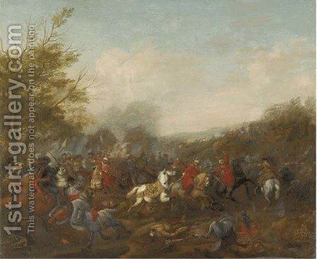 A cavalry skirmish 2 by (attr.to) Huchtenburg, Jan van - Reproduction Oil Painting