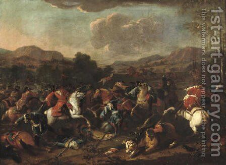A cavalry skirmish in an extensive river landscape, said to be Prince Eugene de Savoy at the Battle of Blenheim, 1704 by (attr.to) Huchtenburg, Jan van - Reproduction Oil Painting