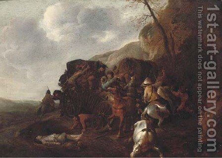 A wagon being ambushed on a mountain pass by (attr.to) Huchtenburg, Jan van - Reproduction Oil Painting