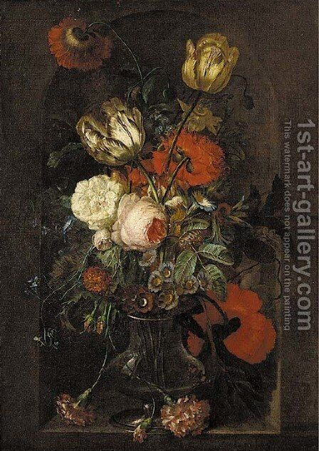 Tulips, roses, carnations, morning glory and other flowers in a glass vase in a stone niche by (after) Huysum, Jan van - Reproduction Oil Painting