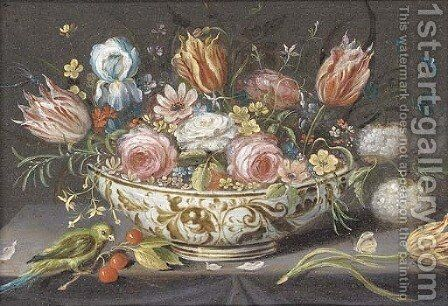 Carnations, roses, tulips and other flowers in a porcelain bowl on a ledge with a finch, cherries and a butterfly by (attr. to) Kessel, Jan van - Reproduction Oil Painting