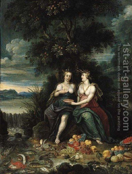 Personifications of the Elements of Water and Earth seated on a river bank by a waterfall, fruit and fish in the foreground by (attr. to) Kessel, Jan van - Reproduction Oil Painting