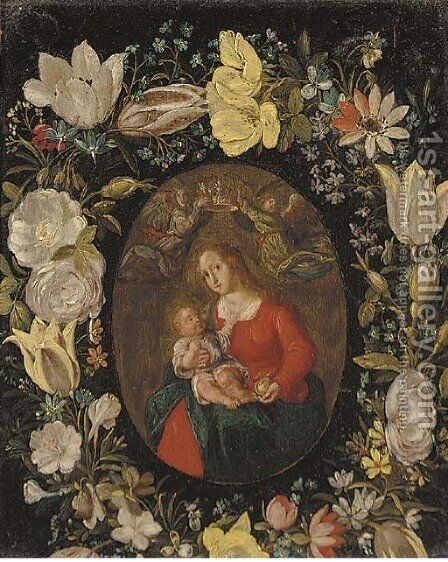The Virgin and Child set in a feigned cartouche of tulips, roses and other flowers by (after) Jan Van, The Younger Kessel - Reproduction Oil Painting