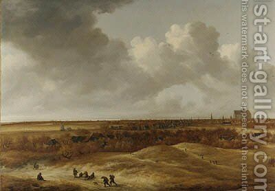 A panoramic landsape with Haarlem and the river Spaarne in the distance by (after) Jan The Younger Vermeer Van Haarlem - Reproduction Oil Painting